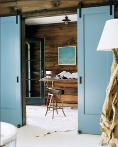 I could pin everything on this page, I love Barn Doors/Loft Doors, I wonder if they have a ceiling mount track option