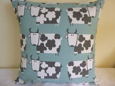 16  CUSHION COVER SCANDI STYLE COUNTRY COTTAGE FARM COWS SHABBY DUCK EGG BLUE