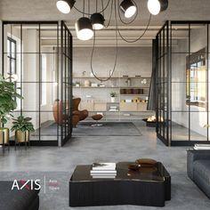 Eine Wohnung im Loft Stil? Das ist wohl der Traum von vielen. Mit einer Pivot Türe von Axis ist das möglich! Loft Stil, Divider, Room, Furniture, Home Decor, Bedroom, Decoration Home, Room Decor, Rooms