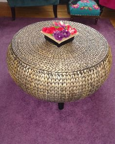 From Wayfair Canada, this wicker storage ottoman provides an eclectic touch when juxtaposed against a bright purple rug. Perfect for small spaces! Bright Purple, Farmhouse Design, Stools, Home Remodeling, Small Spaces, Wicker, Ottoman, Chairs, Canada