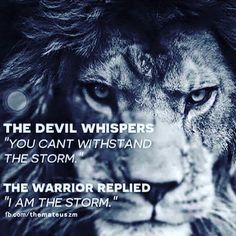 The devil whispers 'You #can't withstand the #storm '. The Warrior replied 'I am the #storm ' #inspirationalquotes #motivation #inspiration