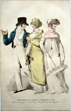 Two ladies and gentleman walking. Perhaps Mr Darcy and the Bingley sisters? Le beau monde, 1808