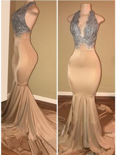 halter prom dresses 2018,Sleeveless Mermaid Lace Prom Dress Prom Outfits, Party Wear Dresses, Cheap Prom Dresses, Formal Dresses, Long Dresses, Wedding Dresses, Bridesmaid Dresses, Prom Gowns, Night Outfits