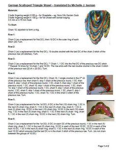 Crochet German Scalloped Triangle Shawl Pattern