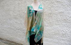 Kimono Wrap, Long Boho Kimono, Cover Up, Green Kimono, Hand Painted Kimono, Silk Cardigan, Festival kimono, Gift for Mom, Kimono Wedding