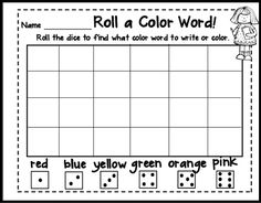 color word activities could use as a graphing idea after 6 rolls - Kindergarten Color Games