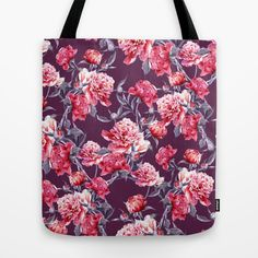 Peony Tote Bag #peony #floral #flowers #botanical #leaves #fashion #moda