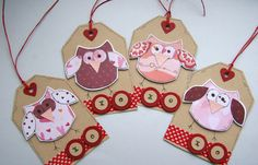 Valentine Owls XO  Set of four Gift Tags or by CraftyMushroomCards, £3.00