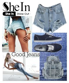 """""""sheIn denim"""" by saletovic ❤ liked on Polyvore featuring mode, GUESS en Vans"""