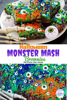 Decorate monster brownies with your kids for some Halloween baking fun! These Easy Halloween Monster Mash Brownies treats are easy-to-make and really simple to decorate with only a few candy decorations. Halloween Brownies, Halloween Snacks, Holidays Halloween, Halloween Party, Halloween Dessert Recipes, Homemade Halloween Treats, Halloween Finger Foods, Halloween Tips, Halloween Cookies