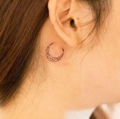 Sensuous Inner-Behind The Ear Tattoos (Ultimate Guide, July Crescent Moon Tattoo by RiverCrescent Moon Tattoo by River Mini Tattoos, Small Moon Tattoos, Paris Tattoo, Delicate Tattoo, Subtle Tattoos, Piercing Tattoo, Behind Ear Tattoos, Tattoos Mandala, French Tattoo