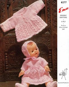 baby doll knitting pattern for dress jacket booties bonnet for 16 / 20 inch doll 4 ply or dk Baby Doll Clothes, Doll Clothes Patterns, Doll Patterns, Clothing Patterns, Knitting Wool, Vintage Knitting, Double Knitting, Baby Knitting Patterns, Baby Patterns