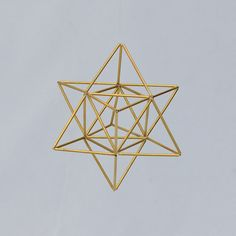 Small EGG OF LIFE, Merkaba, Tetrahedron Star of David 3 D Himmeli Hanging Brass Home Decor