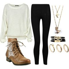Lace brown combat boots, white sweater, black pants/jeggings & jewelries!