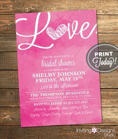Watercolor Bridal Shower Invitation, Love, Art, Pink, Retro, Printable File (Custom Order, INSTANT PROOF) by InvitingDesignStudio on Etsy