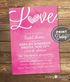 Watercolor Bridal Shower Invitation, Love, Art, Pink, Retro, Printable File (Custom Order, INSTANT PROOF) by InvitingDesignStudio on Etsy