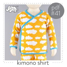 Baby kimono pattern, sewing pdf and tutorial, sizes Preemie to 3T -Pattern 41