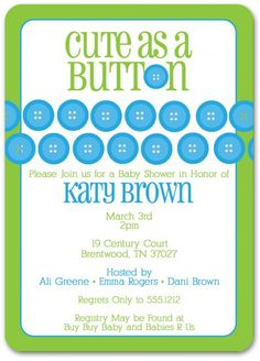 cute as a button baby shower invitation sip and see
