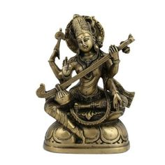 Amazon.com: Sculpture Goddess Saraswati Decor Hindu Art Religious; Brass; 5 X 2 X 7.5 Inches: Home & Kitchen