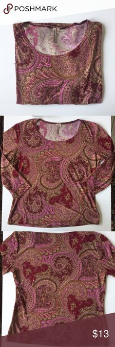 🆑 Anthropologie Paisley 3/4 Sleeve Incredibly soft and silky shirt from Susan Lawrence (Anthropologie, I think.) gorgeous colors and cute 3/4 sleeve, just too big for my tiny frame 🙁 excellent condition, worn a few times but no flaws or damage. Perfect for layering too. Fits a small or medium. Anthropologie Tops