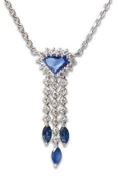 A sapphire diamond pendant with necklace  18 ct. white gold. The pendant with one triangle sapphire (0,7 x 1 cm) and 3 navette shaped sapphires of in total c. 2,10 ct. and also with 31 small circular cut diam. of in total c. 1,40 ct. W-TCrys.vvsi/si. L. 41 cm. by kathleen