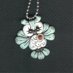 Reserved for kgolubova Pale Blue Hooty Owl Necklace by Freeheart1