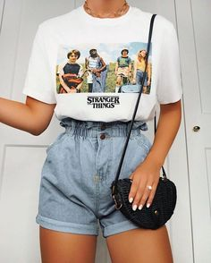 Cute Casual Outfits, Retro Outfits, Short Outfits, Stylish Outfits, Vintage Outfits, Summer Outfits, Vintage T Shirts, Teen Fashion Outfits, Teenage Outfits