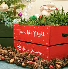 This Christmas Eve box is simply beautiful. You could try to make it yourself; just get one of our wooden crates and paint. More DIY inspiration available at www.craftmill.co.uk