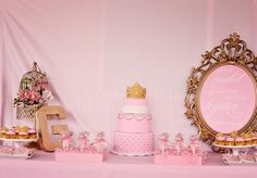 elegant pink and gold beautiful bird cage themed baby shower gilded mirror sign