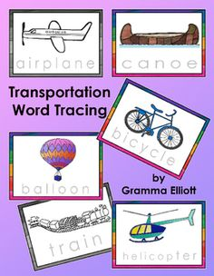 Transportation Word Tracing Cards help students practice writing the words they want to learn in Color and in Black and White:1.Airplane2.Balloon3.Bicycle4.Bus5.Jet6.Rowboat7.Ship8.Sub9.Canoe10.Car11.Helicopter12.Jeep13.Train14.Truck15.Van16.VehiclesI suggest printing on 110# cardstock and laminating for repeated tracing.