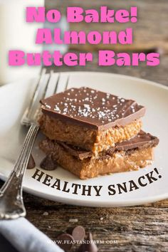 These indulgent, no bake almond butter bars are packed with protein and healthy fats, but without refined sugar, so you can indulge without any guilt! Real Food Recipes, Easy Recipes, Dessert Recipes, Yummy Food, Easy Homemade Desserts, Peanut Butter Bars, Recipe From Scratch, Weeknight Dinners, Almond Butter