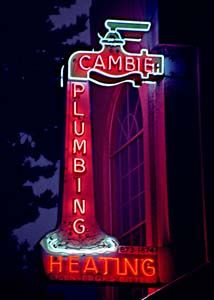 Cambie Plumbing has always been located on Fraser St. Commercial Signs, Vintage Tin Signs, Shine The Light, Marquee Sign, Neon Nights, Neon Light Signs, Neon Glow, Old Signs, Business Signs