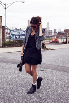 Dr Martens chelsea boots with short dress and ankle socks
