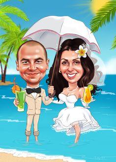 Свадебный шарж в тропиках #рисунок #шаржи #живопись #art #подарки #подарок #caricature #карикатуры #digital #cartoons #свадьба #море #тропики