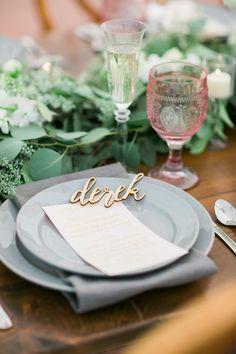 lasercut place cards - photo by Kivalo Photography http://ruffledblog.com/herbes-de-provence-wedding-inspiration
