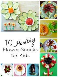 Collection of flower-shaped snacks. Terrific healthy snack ideas for kids that they can help make, too.