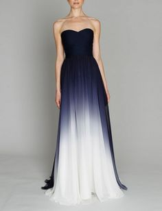 classy ombre dress - navy, white, maxi dress - Wheretoget