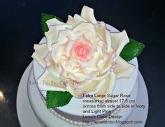 Extra Large sugar Rose in ivory and light pink, measuring almost 17.5 cms from side to side by Lena's Cake Design. http://lenatambo.blogspot.com