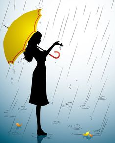 Mothers Day Drawings Discover A Silhouette of a young girl with a yellow umbrella Wall Mural Pixers - We live to change Yellow Umbrella, Umbrella Art, Rainy Day Drawing, Sad Girl Art, Rain Tattoo, Mothers Day Drawings, Rain Days, Garden Drawing, Girl Silhouette