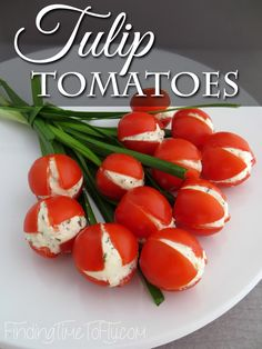 These Tulip Tomatoes would be a great addition to a spring. These Tulip Tomatoes would be a great addition to a spring luncheon brunch or a spectacular side dish for your Easter meal. Luncheon Recipes, Luncheon Menu, Ladies Luncheon, Ladies Party, Easter Recipes, New Recipes, Favorite Recipes, Amazing Recipes, Recipies