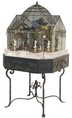 """Lady Jane's """"Winter Garden"""" terrarium in the Miniature Museum of Taiwan. Miniature Rooms, Miniature Houses, Glass Terrarium, Terrariums, Garden Terrarium, Glass Display Case, Display Cases, Decoration Inspiration, Tiny World"""