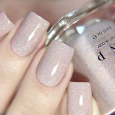 nails Birthday Suit - Cashmere Pink Holographic Nail Polish by ILNP Bridal Nails, Wedding Nails, French Nails, Pink Holographic Nails, Sparkle Gel Nails, Glitter Pedicure, Glitter Nail Polish, Glitter Gel, Nail Art Halloween