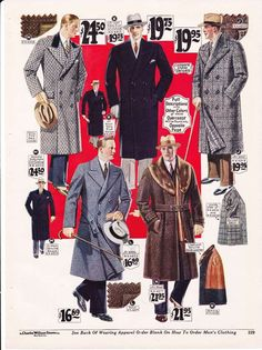 Men's Long Winter Coats from a 1927 catalog #vintage #1920s #fashion