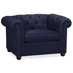 "Pottery Barn Chesterfield Upholstered Grand Armchair 50"" ($1,499) ❤ liked on Polyvore featuring home, furniture, chairs, accent chairs, navy, fabric accent chairs, navy upholstered chair, navy accent chair, chesterfield chair and navy blue armchair"