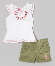 Take a look at the White Floral Peasant Top & Olive Shorts - Infant, Toddler & Girls on #zulily today!