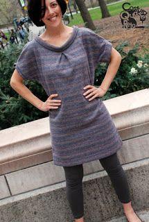 Vestido de malha Sweater dress Costura Quase Reta