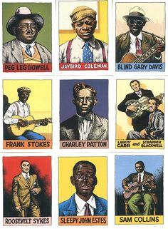 "Robert Crumb Trading Cards ""Heroes Of The Blues"", Peg Leg Howell, Jaybird Coleman, Blind Gary Davis, Frank Stokes, Charley Patton, Leroy Carr, Scrapper Blackwell, Roosevelt Sykes, Sleepy John Estes and Sam Collins"