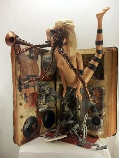 Altered Book, Horror / Steampunk Fusion Found Assemblage Art, Outsider Art