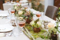 Dekokonzept für eine Hochzeit Festlicher Herbst20  Kupfer mit Hortensien und Bambus