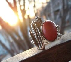 Red Coral and Pine Needle Casted Ring Size 8 by RachelLeeDesigns, $81.00